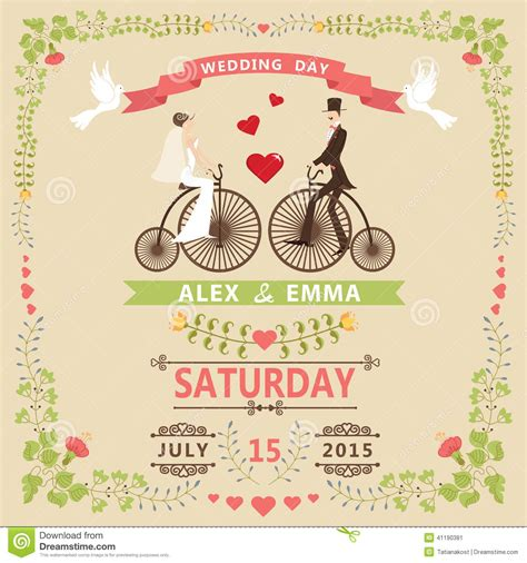 free vector wedding card design template wedding invitation with groom retro bicycle floral
