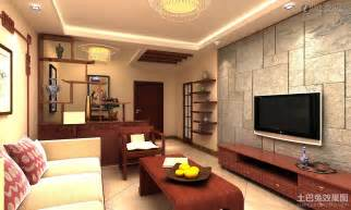 Simple small apartment living room tv background wall of marble
