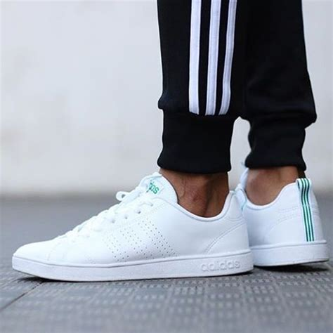 Adidas Neo Advantage Cleans Whitewhitegreen Original adidas neo advantage white