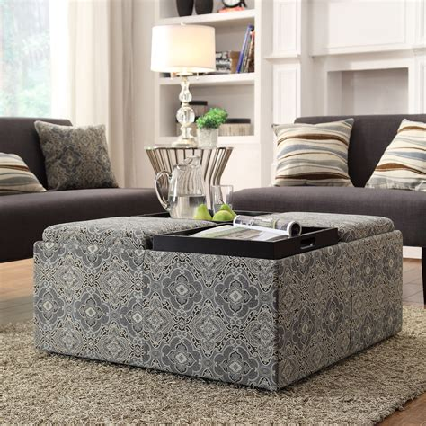 Printed Storage Ottoman Oxford Creek Transitional Fulton Blue Damask Storage Cocktail Ottoman With Trays Home