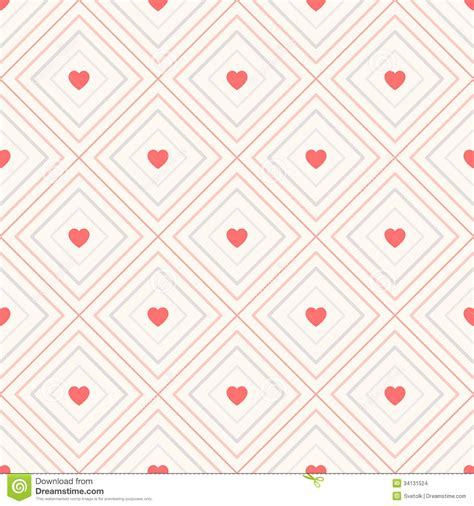 repeat pattern web background geometric seamless pattern with rhombus and hearts stock
