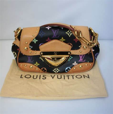 auth louis vuitton black multi color monogram marilyn hand