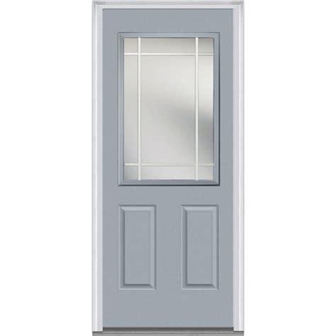36 X 78 Exterior Door Milliken Millwork 36 In X 80 In Prairie Muntins Left 1 2 Lite 2 Panel Classic