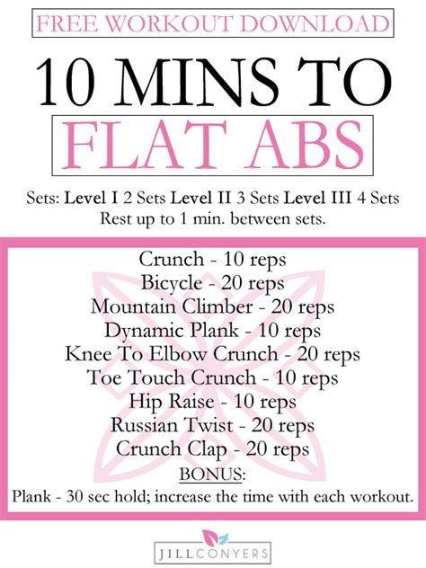 10 minutes to flat abs with free conyers