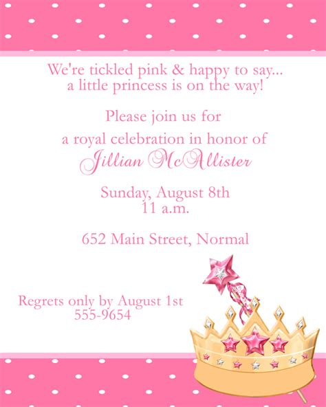 princess baby shower invitation wording iidaemilia com