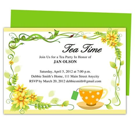 Freshness Tea Party Invitation Party Templates Printable Diy Edit In Word Publisher Apple Publishing Invitation Template