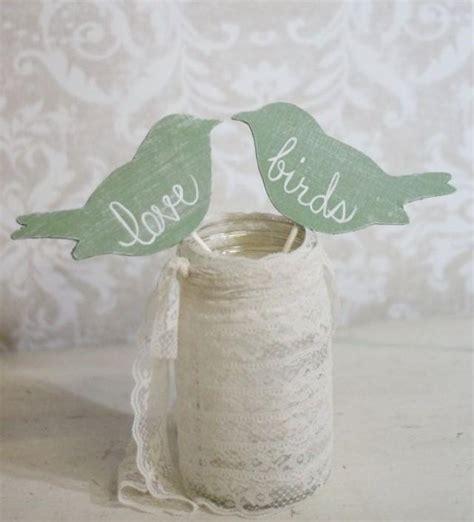 wedding cake topper love birds shabby chic wedding decor