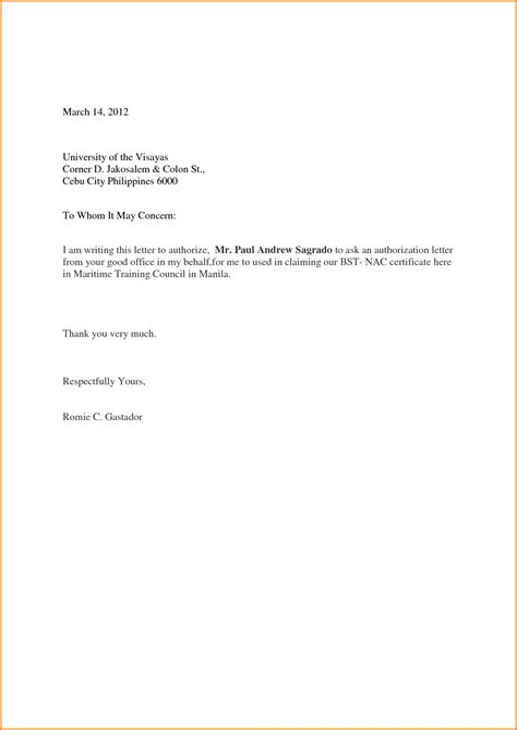 authorization letter format for nbi clearance sle of authorization letter to up bank statement