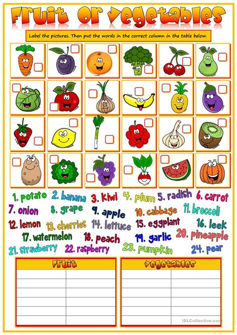 guess my word 35 food items worksheet free 154 free esl vegetables worksheets