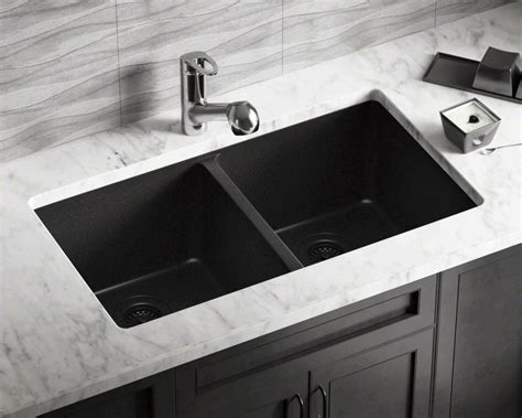 double sinks for kitchens 802 black double equal bowl trugranite kitchen sink