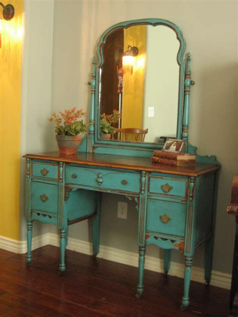 Vintage Dresser Vanity by European Paint Finishes Chippy Teal Vanity