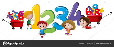 imagenes niños jugando con numeros ni 241 os contando n 250 meros uno a cuatro vector de stock