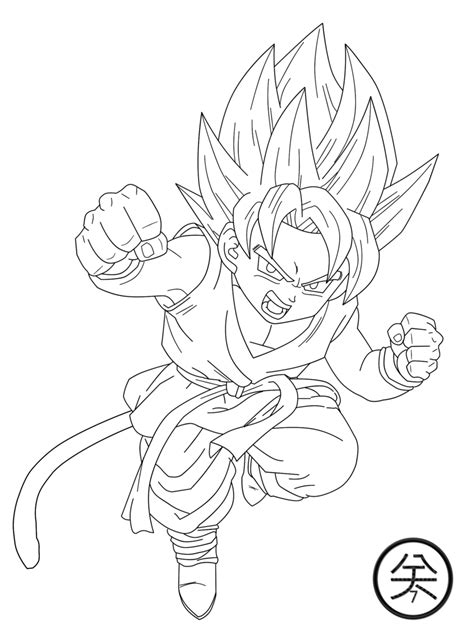 kid goku gt ssj lineart by jp7 by jeanpaul007 on deviantart