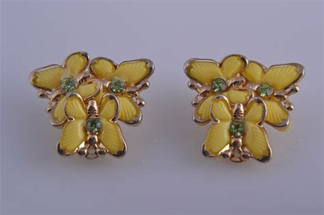 plastic 1950 s butterfly clip on earrings with crystals