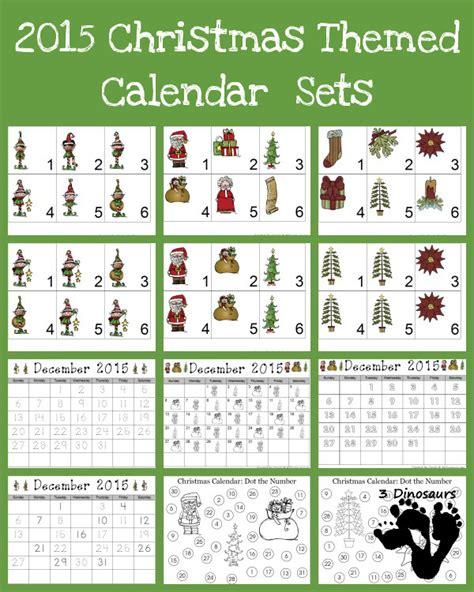 december 2015 calendars christmas themed designs free 2015 christmas calendar printables 3 dinosaurs