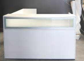 white receptionist desk l shaped white reception desk w frosted glass panel