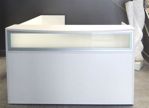 white glass l l shaped white reception desk w frosted glass panel