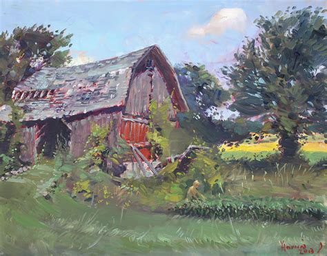 Vintage Farmhouse Plans old barns painting by ylli haruni