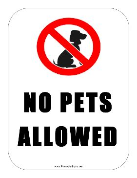 No Pets Allowed Sign Printable