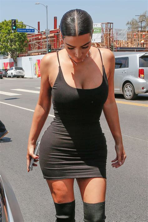 Kim kardashian in short black dress out in la 2016 08 11