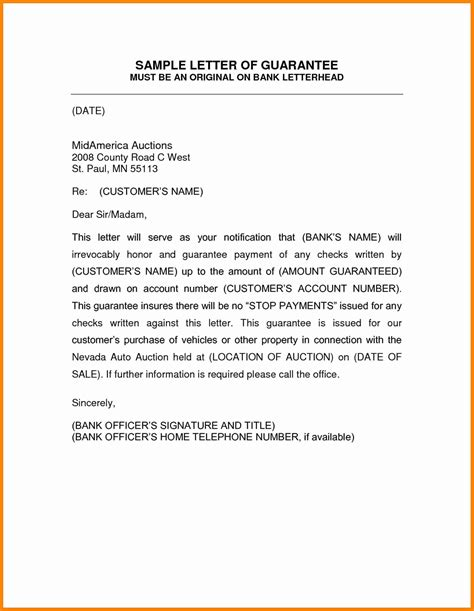 Guarantee Letter For Vehicle guarantor letter template image collections cv