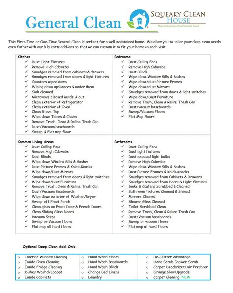 General Clean Image Home Pinterest Cleaning Business Business And Cleaning Check Lists House Cleaning Price List Template