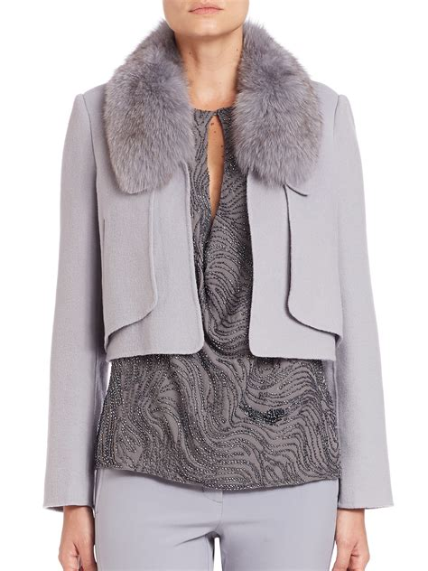 Cropped Fur Jackets by Heritage Cropped Fur Collar Knit Jacket In Gray