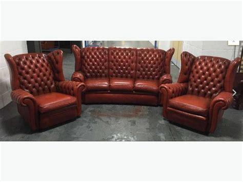 burnt orange leather sofa burnt orange leather wingback chesterfield 3pc sofa set we