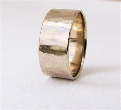 white gold wedding band mens wide hammered wedding ring