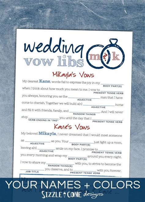 wedding vows bridal shower mad lib bachelorette rehearsal wedding vows bridal shower mad lib bachelorette rehearsal dinner idea