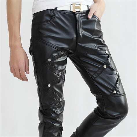 pantalon cuero hombre pantalones de cuero ajustados hombre