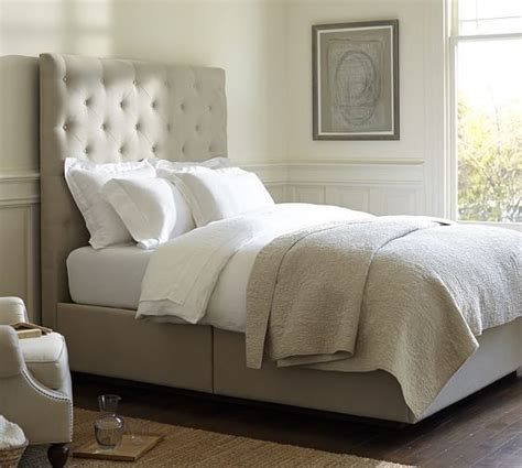 upholstered headboard pottery barn lorraine tufted upholstered tall headboard storage