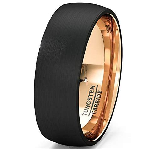 Eheringe Rosegold Schwarz by Mens Wedding Band Black Gold Tungsten Ring Brushed