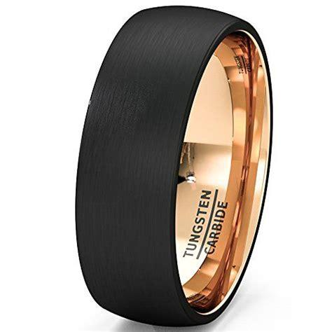Mens Wedding Band Black Rose Gold Tungsten Ring Brushed
