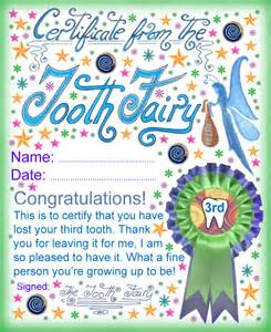 tooth fairy certificate award for losing your third tooth