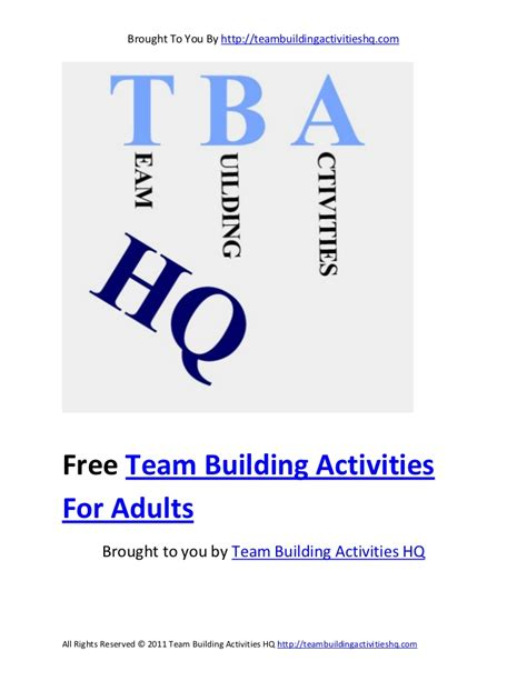 Team Building Worksheets For Adults by Free Team Building Activities For Adults