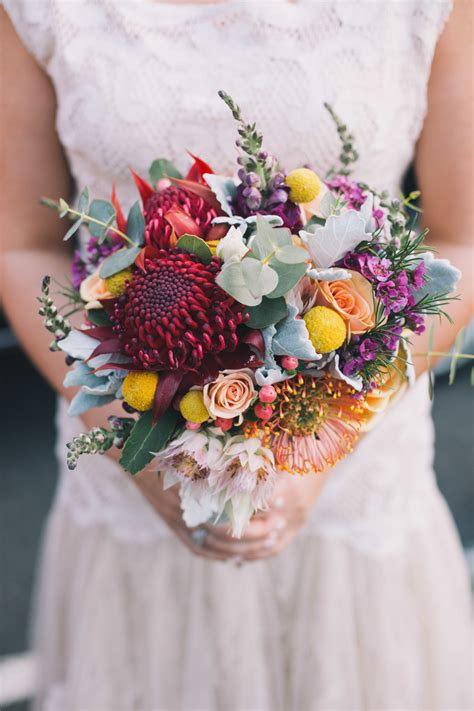 Wildflower Arrangements by Colourful Waratah Wedding Bouquet With Australian Native