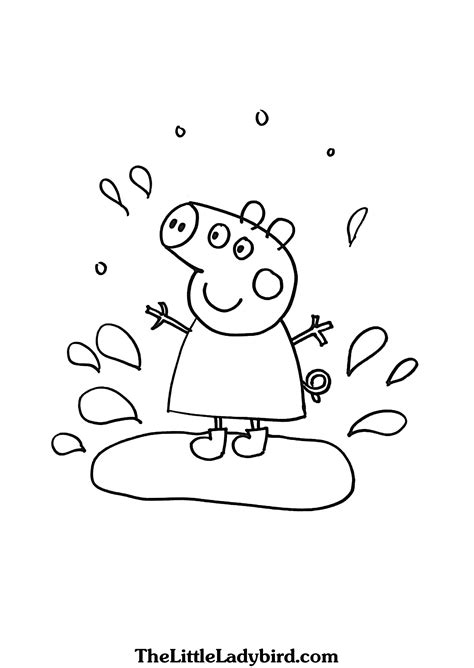peppa pig muddy puddles coloring pages free peppa pig jumping in muddy puddle coloring page