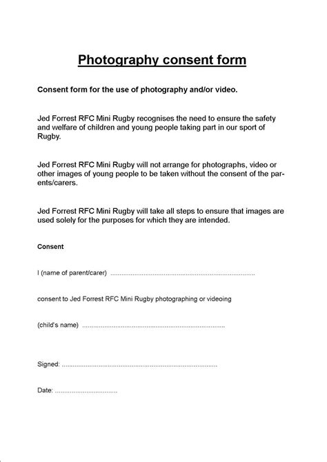 photography permission form template consent form template free consultation