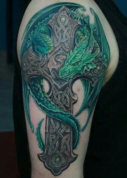 celtic cross with dragon tattoo cross tat and crosses