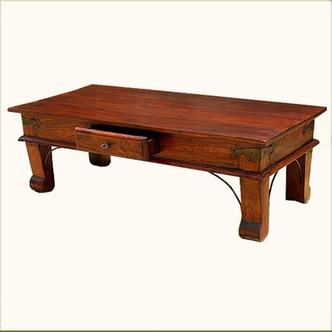Solid Wood Coffee Tables Rustic Solid Wood Handmade Storage Drawer Sofa Coffee Cocktail Table Furniture Ebay