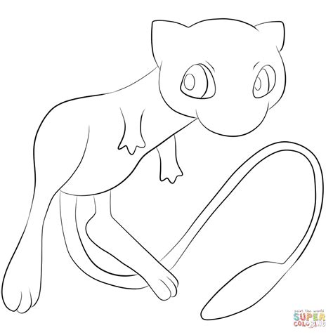 pokemon coloring pages legendary mew pokemon mew coloring page free printable coloring pages