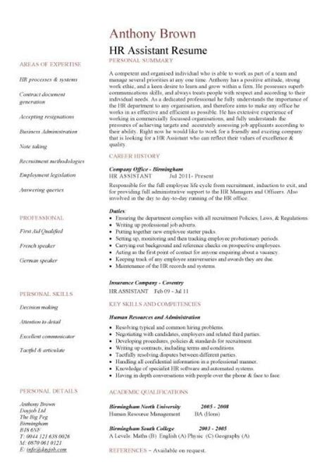 Hr Resume Skills by Hr Assistant Cv Template Description Sle