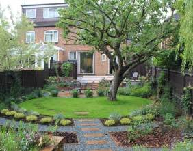 circular lawn in rectangular garden garden design