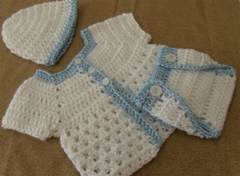 Handmade Newborn - handmade crochet baby boy sweater hat cover 3