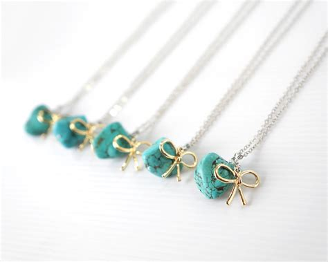 set of 5 best friends necklaces turquoise by treecraftdiary