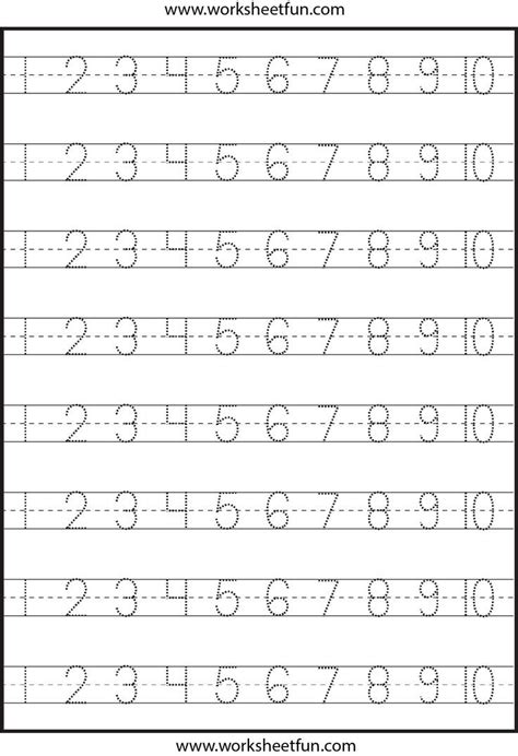 pre k number writing worksheets number tracing 4