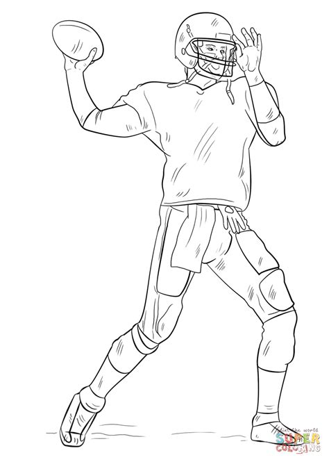 coloring page of a football player football player coloring page free printable coloring pages