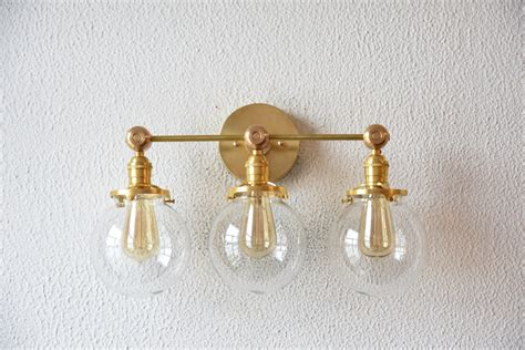 antique gold vanity light free shipping vanity light three globe clear gold brass