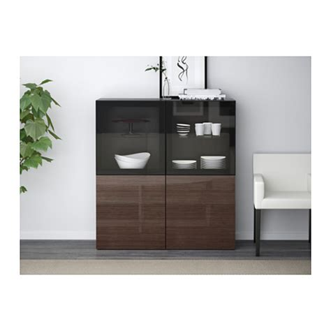 ikea besta storage combination with doors best 197 storage combination w glass doors black brown selsviken high gloss brown clear